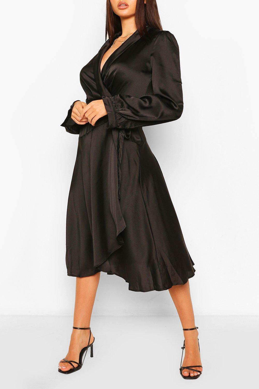 70s Dresses – Disco Dress, Hippie Dress, Wrap Dress Womens Satin Wrap Detail Midi Skater Dress - Black - 12 $22.00 AT vintagedancer.com