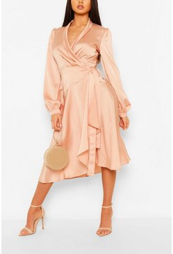 Blush Satin Wrap Detail Midi Skater Dress