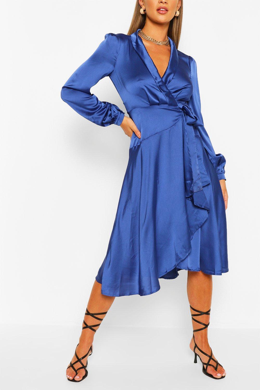 70s Dresses – Disco Dress, Hippie Dress, Wrap Dress Womens Satin Wrap Detail Midi Skater Dress - Blue - 12 $22.00 AT vintagedancer.com