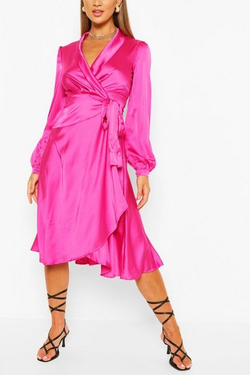 Hot pink Satin Wrap Detail Midi Skater Dress