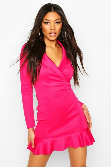 Dark pink Fishtail Wrap Mini Tailored Dress