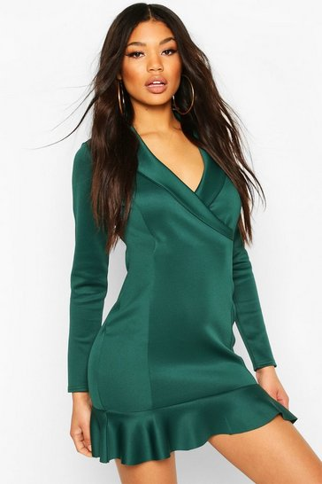 Forest Fishtail Wrap Mini Tailored Dress