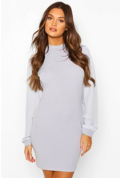 Chiffon Sleeve High Neck Dress, Grey