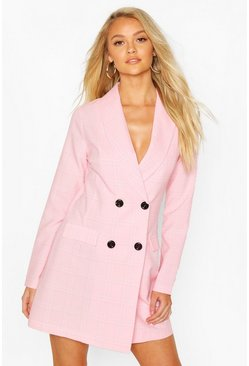 Pastel pink Check Tailored Blazer Dress