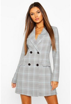Blue Check Tailored Blazer Dress