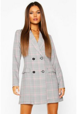 Pink Check Tailored Blazer Dress