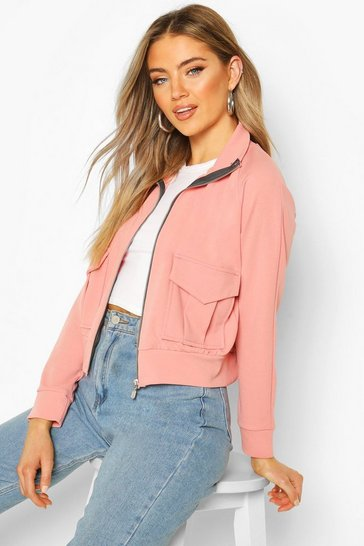Dusky pink Pocket Detail Bomber Jacket