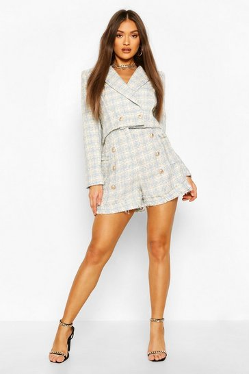 Blue Boucle Gold Button Tailored Shorts