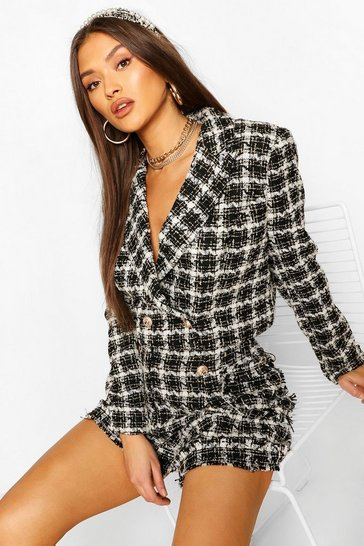 Black Boucle Checked Gold Button Cropped Blazer