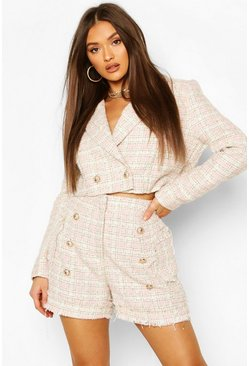 Pink Boucle Checked Gold Button Cropped Blazer