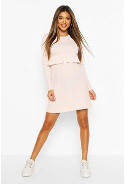 Pink Rib Frill Detail Smock Dress