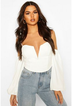 Ivory Crepe Cold Shoulder Plunge Top
