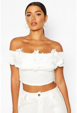 Ivory Off The Shoulder Applique Detail Crop Top