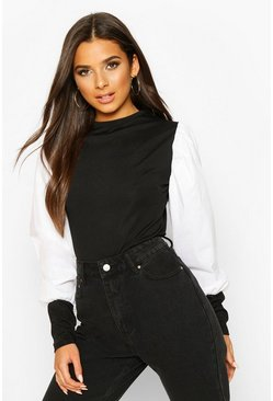 Black Ribbed Cotton Puff Sleeve Top