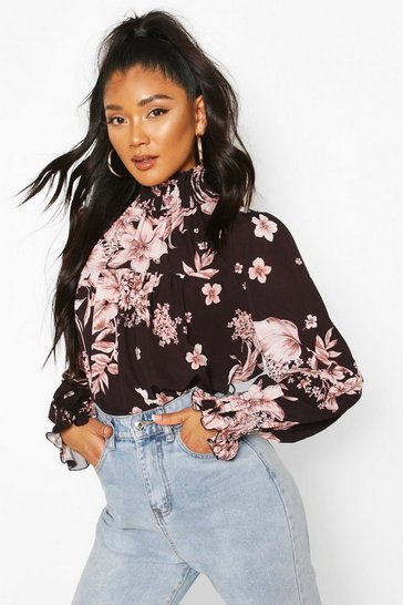 Black Floral Printed Shirred Neck Cuff Smock Top