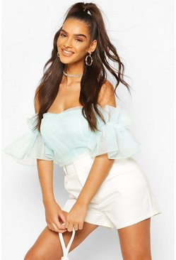 Baby blue Organza Ruffle Off The Shoulder Bodysuit