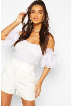 Ivory Organza Ruffle Off The Shoulder Bodysuit