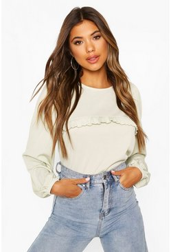 Sage Puff Sleeve Ruffle Front Top