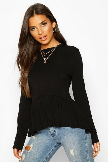 Black Frill Hem Long Sleeve Top
