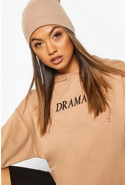 Camel Oversized Embroidered Slogan Hoodie