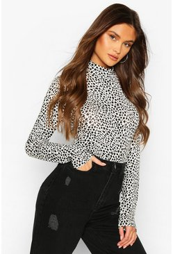 White Dalmation Print High Neck Longsleeve Top
