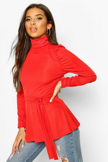 Coral Belted Peplum Long Sleeve Top