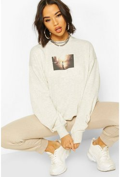 Ecru Oversized Printed Sweat