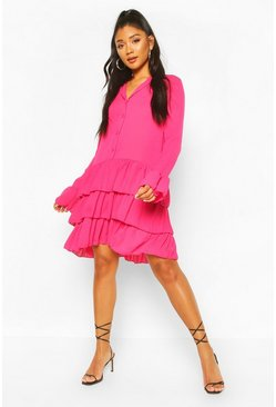 Hot pink Ruffle Hem Belted Shirt Dress