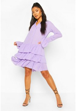 Lilac Ruffle Hem Belted Shirt Dress