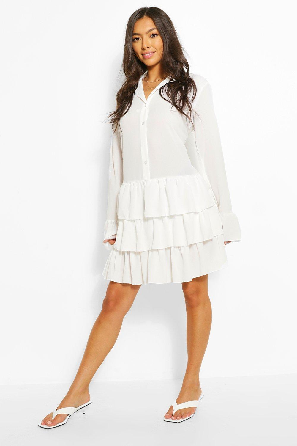 1920s Outfit Ideas: 10 Downton Abbey Inspired Costumes Womens Ruffle Hem Shirt Dress - White - 8 $16.00 AT vintagedancer.com