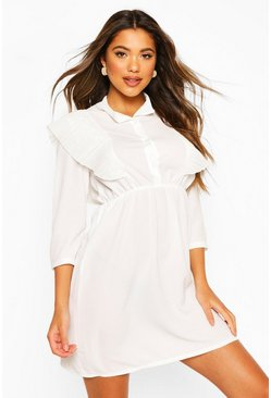 White Plisse Frill Button Shirt Dress