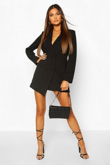 Black Collarless Double Breasted Blazer Dress
