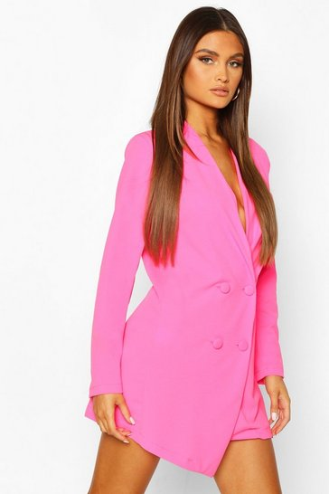Neon-pink Collarless Double Breasted Blazer Dress