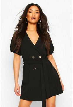 Black Puff Sleeve Belted Button Blazer Dress