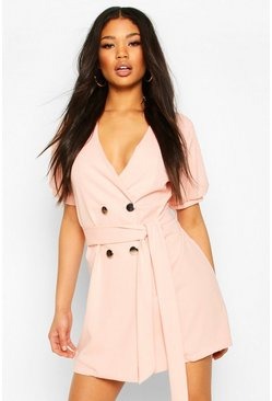 Pastel pink Puff Sleeve Belted Button Blazer Dress