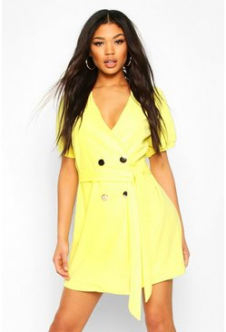Yellow Puff Sleeve Belted Button Blazer Dress