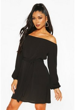 Black Off Shoulder Belted Shift Dress