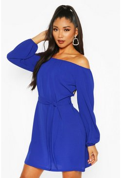 Blue Off Shoulder Belted Shift Dress