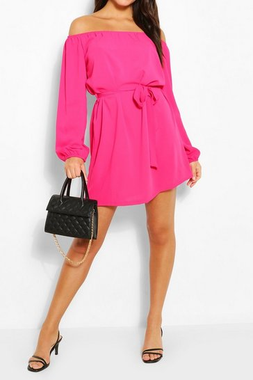 Hot pink Off Shoulder Belted Shift Dress
