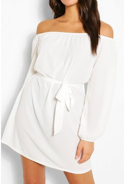 White Off Shoulder Belted Shift Dress