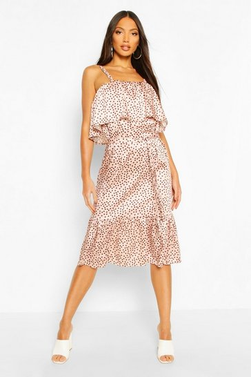Blush Satin Polka Dot Ruffle Belted Midi Dress