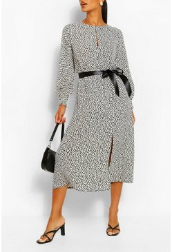 Dalmation Print Split Detail Long Sleeve Midi Dress, White