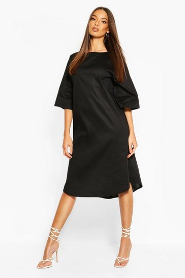 Black Cotton Roll Sleeve Oversized Midi Dress