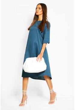 Petrol Cotton Roll Sleeve Oversized Midi Dress