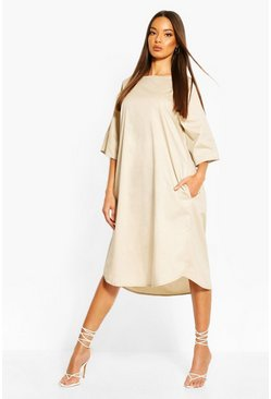 Stone Cotton Roll Sleeve Oversized Midi Dress