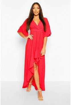 Red Flute Sleeve Ruffle Hem Belted Maxi Dress