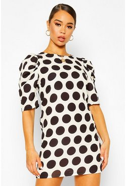 Stone Polka Dot Puff Sleeve Shift Dress