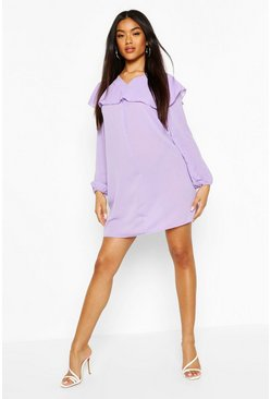 Lilac Ruffle Detail Long Sleeve Shift Dress