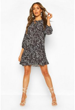 Black Polka Dot Floral Mix Tie Detail Shift Dress