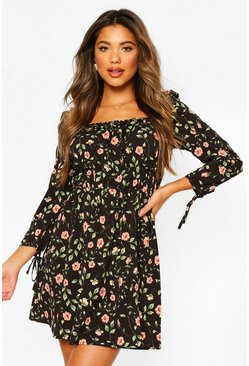 Black Rose Print Puff 3/4 Sleeve Mini Dress